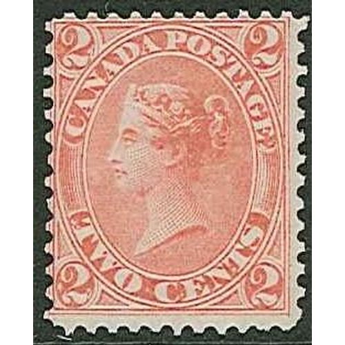 218 - Canada; 1864 2c rose-red very fine mint, centred to upper-left (quite typical for these) and with go...