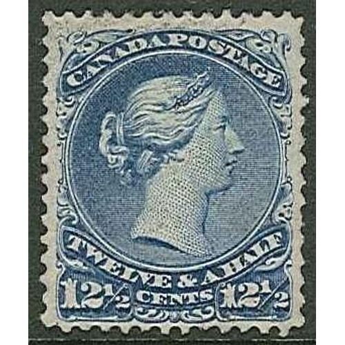 """221 - Canada; 1868-90 Large Queen 12½c showing """"CL"""" of sheet watermark, used with very light cancel, quite..."""