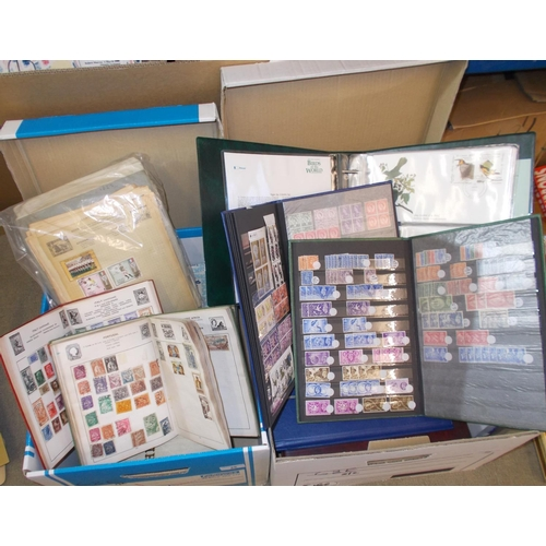 25 - Collections and Mixed Lots; Two storage boxes with world album pages, world on/off-paper (much UK), ...