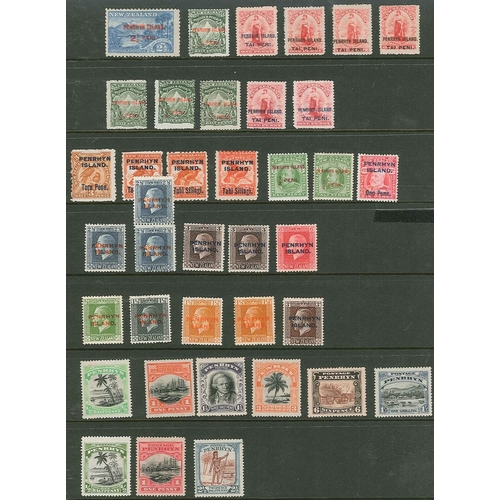 284 - Cook Islands; Penrhyn; 1902-20 m.m. seln. on stockleaf, some more heavily mounted, slight duplicatio...