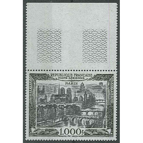 296 - France; 1949-50 Air 1,000f fine u.m. with upper margin. SG 1059 cat.£200....