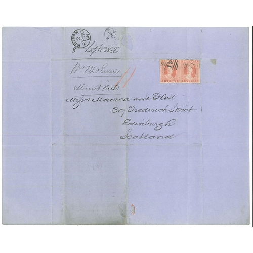 352 - Grenada; 1861-68 four entires to Edinburgh - the 1861 entire has a single 6d adhesive, the three fro...