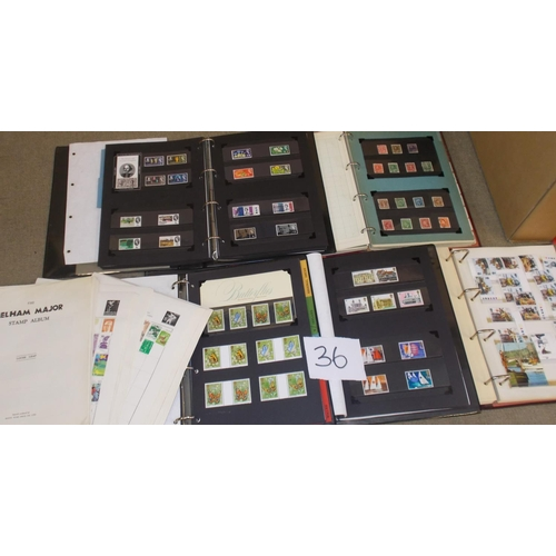 36 - Collections and Mixed Lots; Two boxes with five albums, much UK inc. early decimal mint, loose stamp...