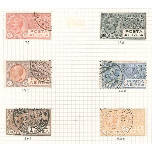 374 - Italy; 1917-65 small used colln. of Airmails inc. 1917 Torino-Roma 25c f.u. on piece, 1917 Napoli-Pa...