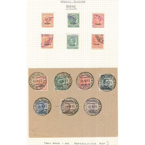 377 - Italian Occupations, and Post Offices Abroad; small used collection on pages of opt. on Italian stam...