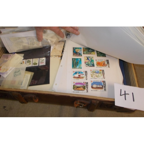 41 - Collections and Mixed Lots; Small cabin trunk (broken handle) filled with pages, loose stamps, cover...
