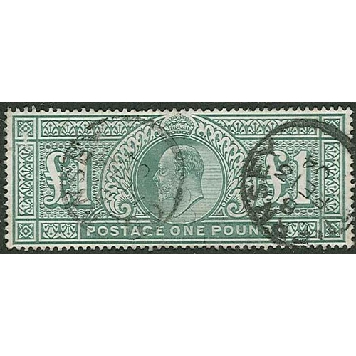 513 - U.K.; 1902-13 (1902) KE7 £1 DLR used. Reasonable attractive with two Guernsey c.d.s., but scratch ne...