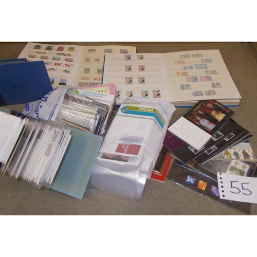 55 - Collections; Commonwealth; a box with a stockbook of UK commems u.m. 1973-84, empty p.packs for thes...