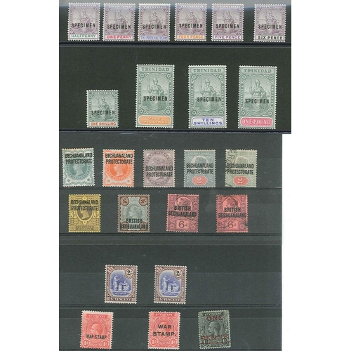 59 - Collections; Commonwealth; Trinidad 1896-1906 set (10) overprinted SPECIMEN appearing unmounted but ...