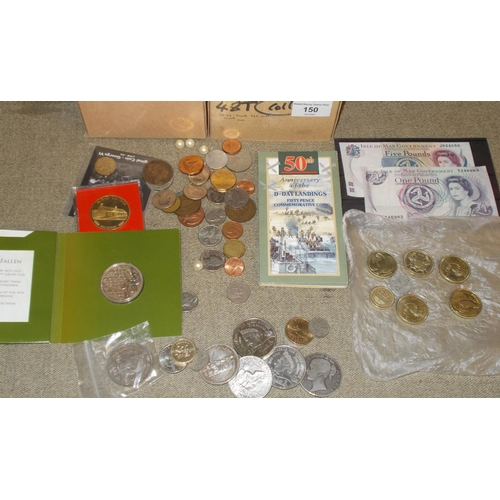 150 - Coins; Small box with mixed inc. UK 1845 crown (worn), UK £5 crowns (3), commem £2 (5), I.o.Man 1990...