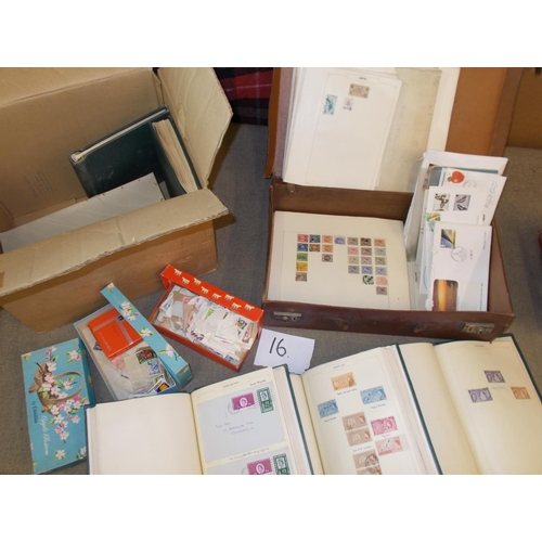 16 - Collections and Mixed Lots; A box and a broken old case with 4-volume Commonwealth collection up to ...