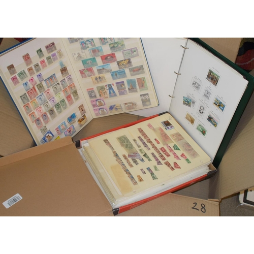 28 - Collections and Mixed Lots; Flat box of mainly Commonwealth, much NZ in album, stockbook, album page...