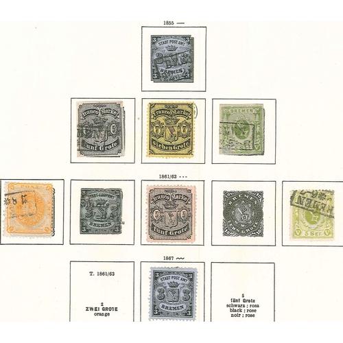 307 - German States; Bremen; 1855-67 nine u./unu. stamps on old page, sold