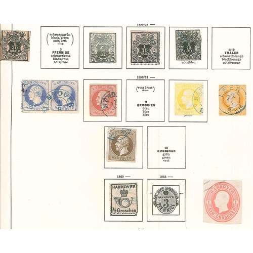 309 - German States; Hanover; 1850-63 used seln. on two old pages, sold