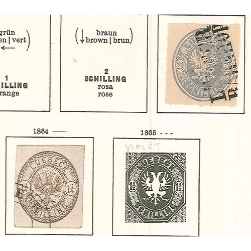 310 - German States; Lübeck; 1863-67 2½s f.u. (paper broken by embossing) (SG 16 cat.£650), and 1864 1¼s g...