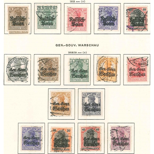 326 - German Occupations, Plebiscite Areas, etc.; Poland; 1915 set (5), and 1916-17 set (11) used, mainly ...