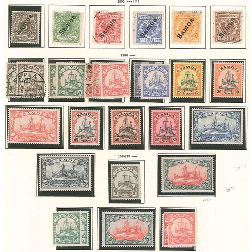 341 - German Colonies and Post Offices Abroad; Samoa; 1900-19 old printed page with a basic straight run o...