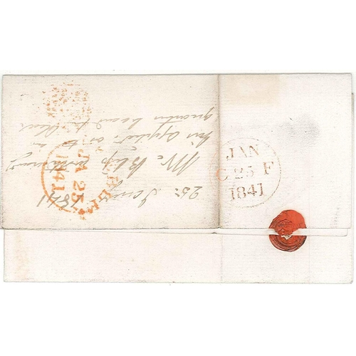 570 - Scottish Covers and Postal History; 1841 (25 Jan.) entire Peebles to Edinburgh with Penny Black FD (...