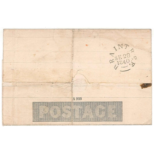 575 - U.K. Covers and Postal History; 1840 Mulready 1d lettersheet used Braintree to Colne Priory, Essex. ...
