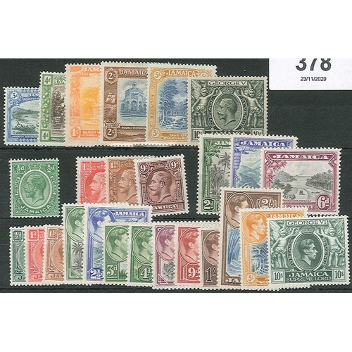 378 - Jamaica; 1921-52 mint seln. (mainly fine l.m.m./m.m.) inc. 1921-29 5/-, 10/-, 1938-52 values to 10/-...