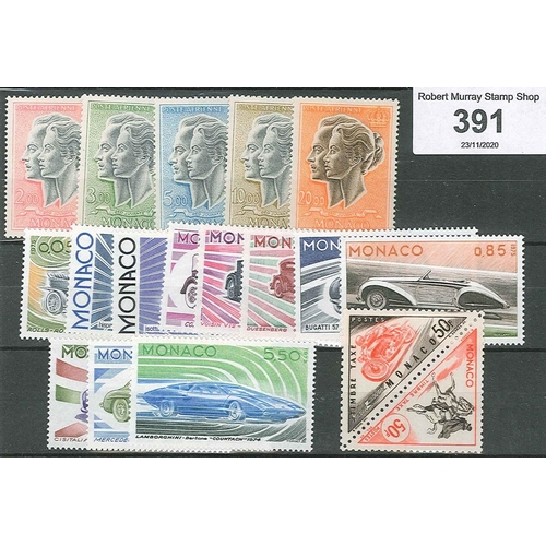 391 - Monaco; 1966-71 defin high values , set (5), 1975 Motor Cars set (11), plus 1953-54 Postage Due 50f ...