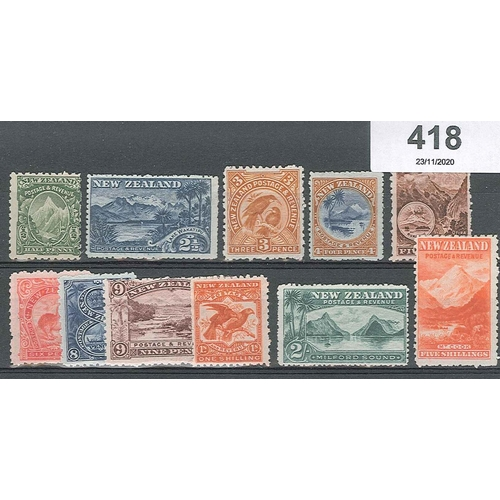 418 - New Zealand; 1902-09 Pictorials mint set ½d to 5/- in mixed perfs (the majority perf.11), mixed l.m....