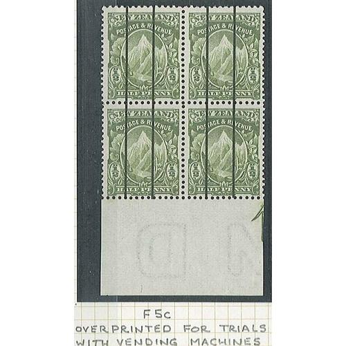 423 - New Zealand; 1907-8 Cowan paper ½d perf.14x15 u.m. lower marginal fourblock with overprinted black v...