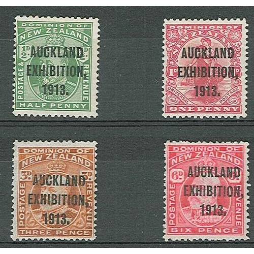 428 - New Zealand; 1913 Auckland Exhibition set (4) fine m.m., the 6d with one short perf at top. SG 412-5...