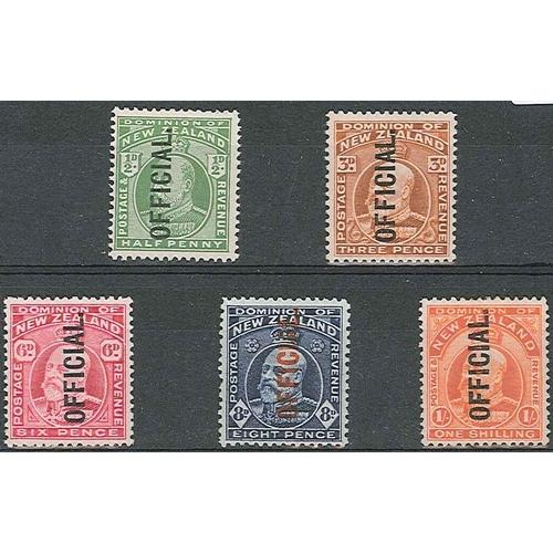 450 - New Zealand; Officials; 1910-16 KE7 set (5) m.m./l.m.m./u.m., SG O73-77 cat.£108....