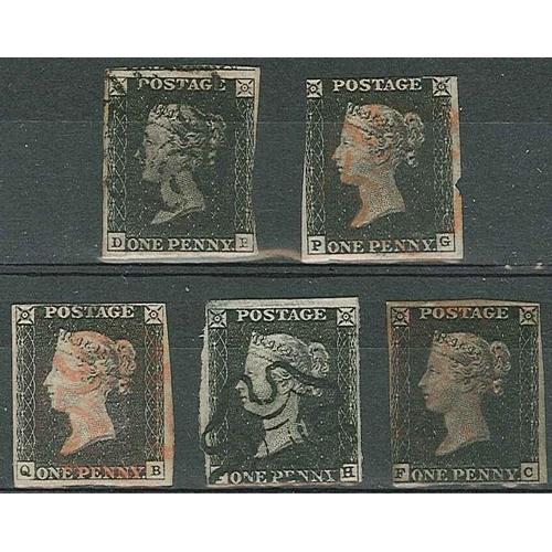 493 - U.K.; 1840 Penny Blacks - five used examples; DB 3-margin (black MC, rubbed at