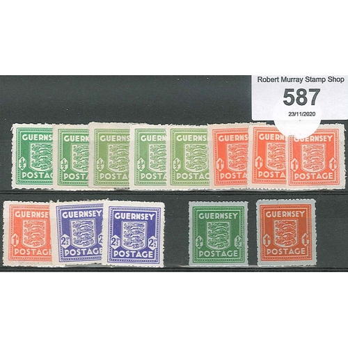 587 - Guernsey; 1941-44 ½d (5), 1d (4), and 2½d (2) in various shades, mainly u.m. (some l.m.m.), plus 194...