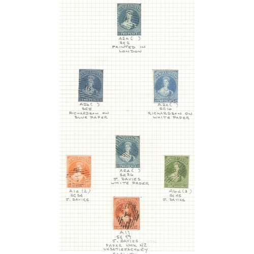 400 - New Zealand; 1855-64 Chalon imperforate 1d (2, different issues), 2d (4, different issues), and 1/-....