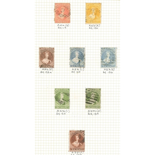 403 - New Zealand; 1864-73 Chalon perforated 1d red/orange (2), 1d brown (2), 2d blue (3), 2d orange (1), ...