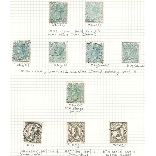 412 - New Zealand; 1882-1900 Second Sideface issue used seln. on eight pages, identified by CP nos, compri...