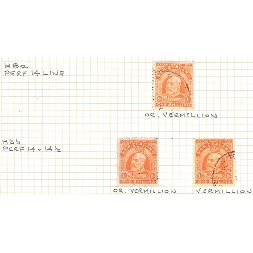 424 - New Zealand; 1909-16 KE7 m. & u. specialised range on a few pages, marked up with CP nos., comprisin...