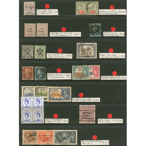 12 - Collections and Mixed Lots; Two dealer's stockleaves with a selection of priced items, mainly Common...
