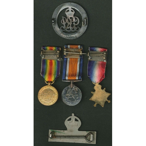 "167 - Medals; WW1 group of three miniatures (1914-15 Star, BWM and Victory), plus ""IMPERIAL SERVICE"" badge..."