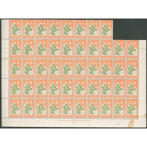 240 - Ceylon; 1938-49 5c perf.13½ part sheet (missing top row and two stamps from next) from plate 1A u.m....