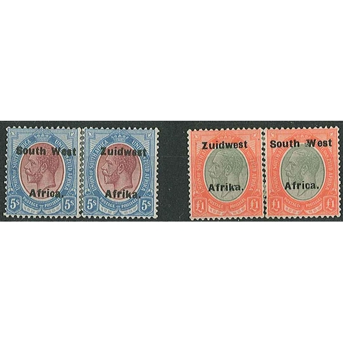 474 - South West Africa; 1923-26 16mm opt 5/- and £1 each as split pair (i.e. pair separated, and rejoined...