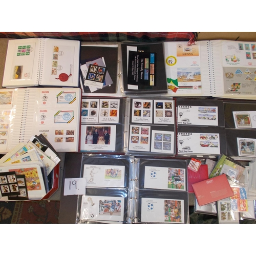 19 - Collections and Mixed Lots; Tub with 8 cover albums/photo albums and loose of world FDCs and some UK...