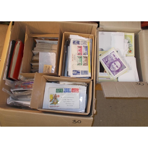 30 - Collections and Mixed Lots; A carton with a quantity of covers, albums, pages, loose stamps (much pr...
