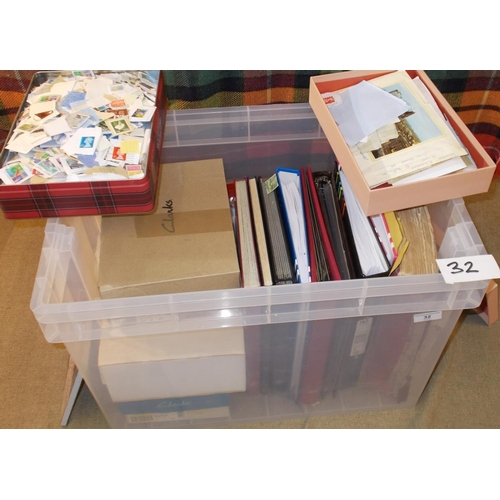 32 - Collections and Mixed Lots; A heavy tub with nine assorted binders/stockbooks of world stamps, and a...