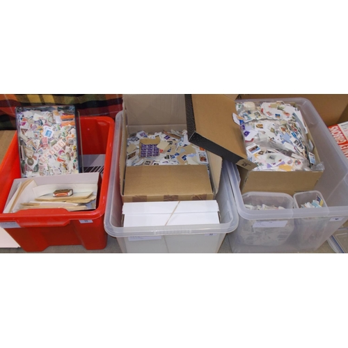 33 - Collections and Mixed Lots; Three large tubs with boxes or smaller tubs of world on and off-paper, e...