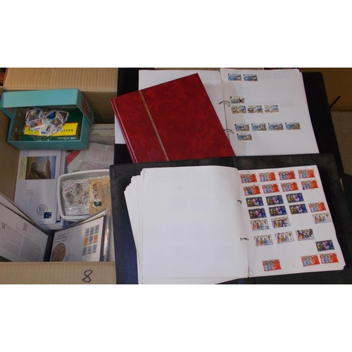 8 - Collections and Mixed Lots; Two heavy cartons with 15 assorted albums/stockbooks of world stamps, in...