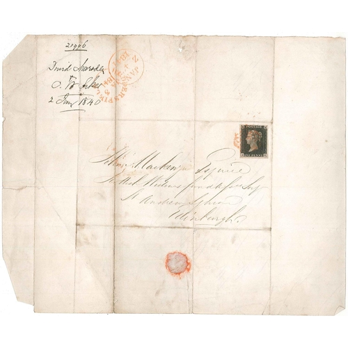 576 - U.K. Covers and Postal History; 1841 (3 Jan.) entire Huddersfield to Edinburgh with Penny Black IK (...