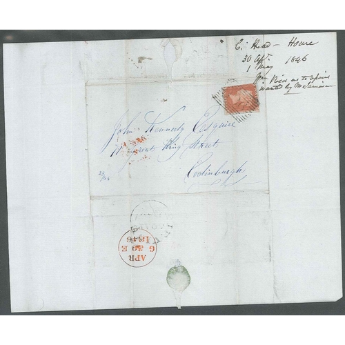 578 - U.K. Covers and Postal History; 1844-78 album of covers, all with Penny Red imperfs and stars/plates...