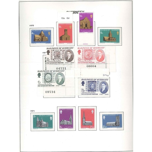 588 - Guernsey and Alderney; 1969-2003 u.m. collection in two Davo hingeless albums (different styles), vi...