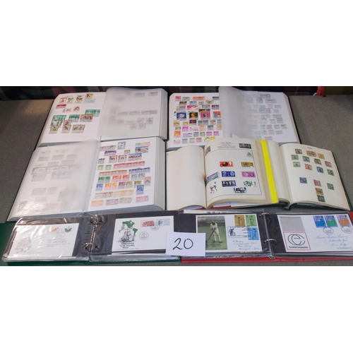 20 - Collections and Mixed Lots; Box with three large stockbooks of m. & u. world stamps, wide range of p...