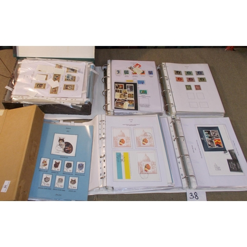 38 - Collections and Mixed Lots; Tub with binders of album pages in polypockets – 1 binder of Switzerland...