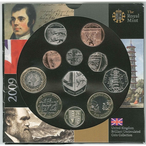 157 - Coins; United Kingdom; 2009 Royal Mint Brilliant Uncirculated Coin Collection with 11 coins inc. the...